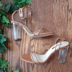 ZARA Lucite and tan stuuning strappy sandals